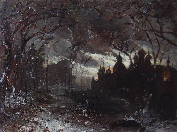 Ипатьевский монастырь в зимнюю ночь. 1870-е