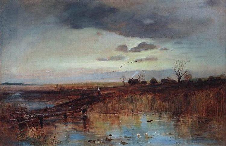 Деревушка у ручья. 1870-е
